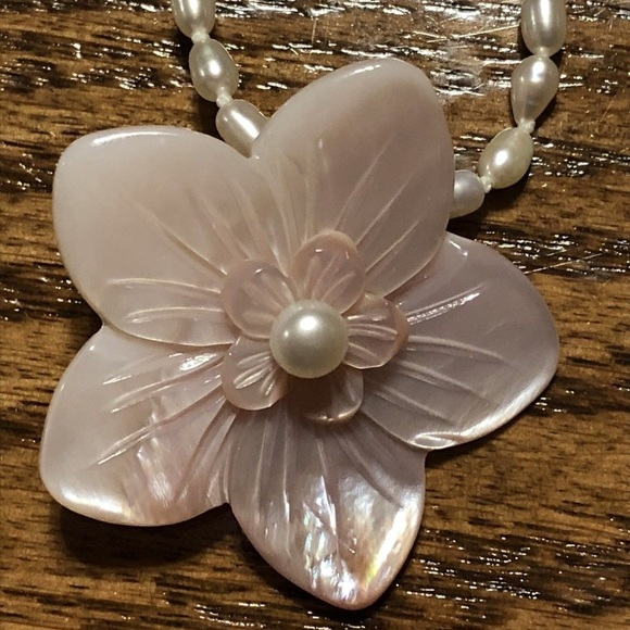 Lee Sands Jewelry Pearl And Pink Hibiscus Necklace Poshmark